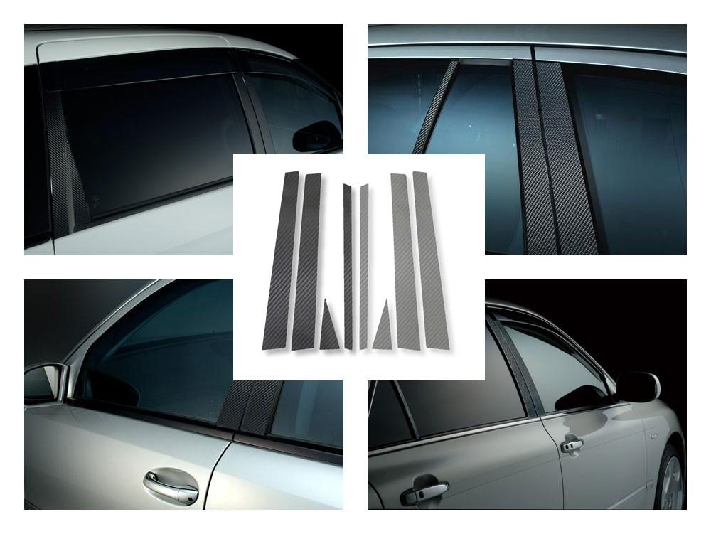 レクサスLS 40系 前期(H18/9~H24/10) カーボンピラー 綾織りタイプ ブラック / シルバー