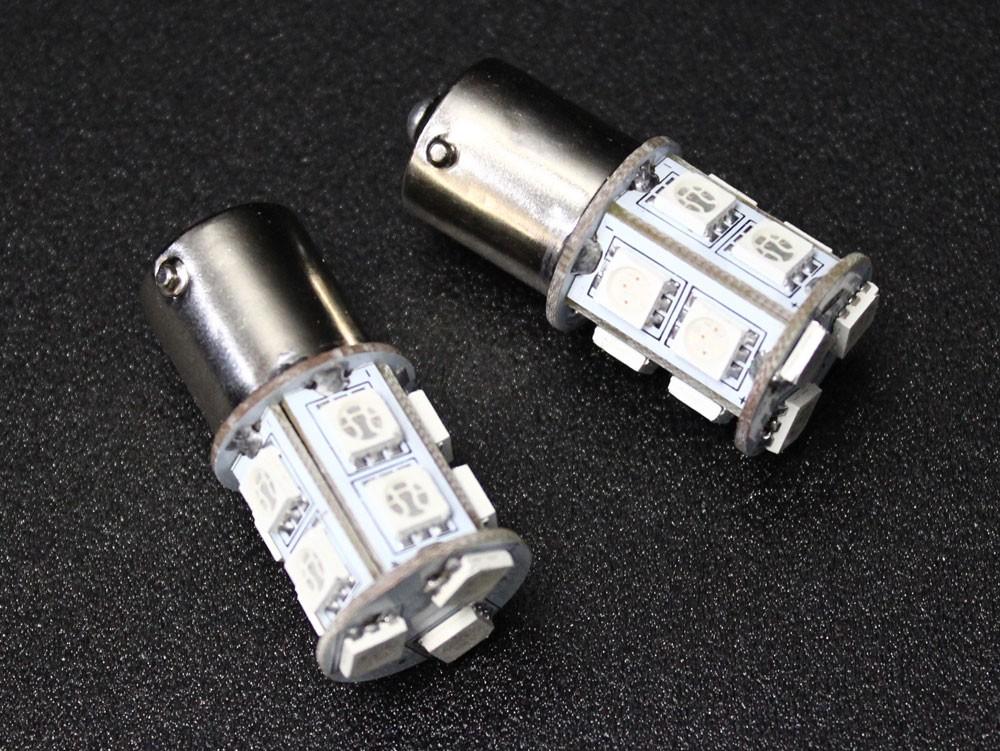 S25 ピン角違い 150度 LED ウェッジバルブ 13連 アンバー