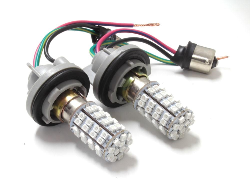 S25 ピン角違い 150度 マルチカラー LEDバルブ レッド / アンバー