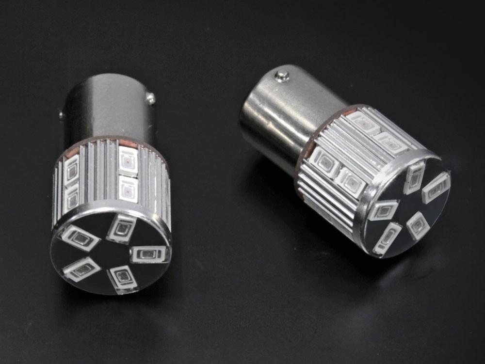 S25 平行ピン 180度 ステルス LEDバルブ 17チップ アンバー