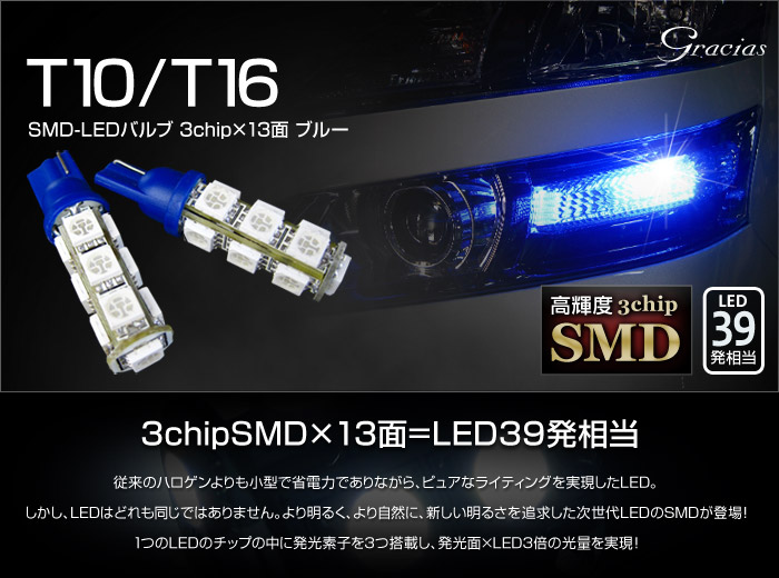 T10/16兼用ウェッジ球 超高輝度・超拡散仕様3chipSMD13連(LED39発相当)ブルー2個セット